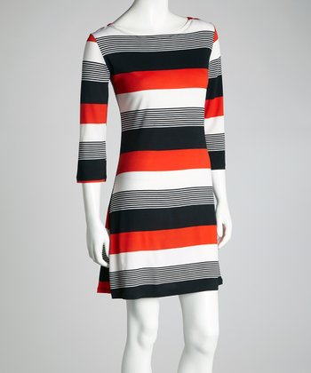 Red & Black Stripe Dress