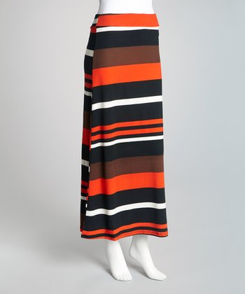 Orange & Black Stripe Maxi Skirt