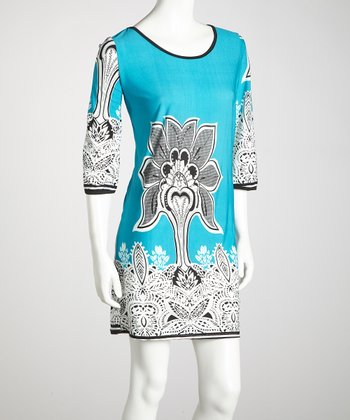 Blue Three-Quarter-Sleeve Dress