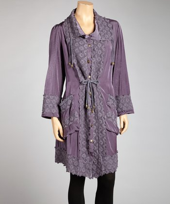Purple Eyelet Linen-Blend Shirt Dress