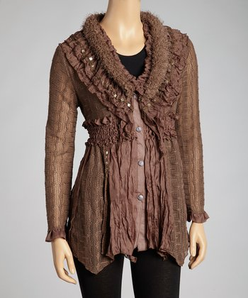 Coffee Ruffle Linen-Blend Tunic