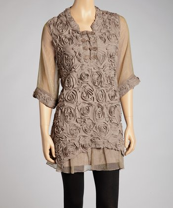 Brown Rosette Silk-Blend Dress