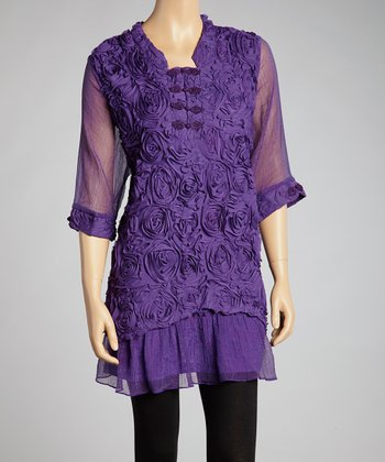 Purple Rosette Silk-Blend Dress