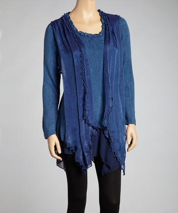 Blue Linen-Blend Layered Top