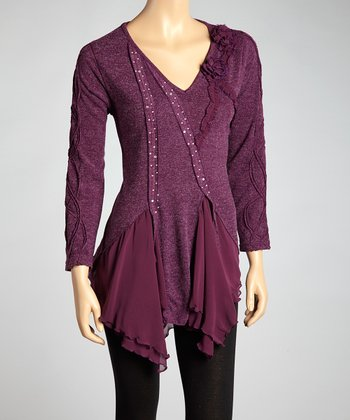Purple Embellished Linen-Blend Tunic