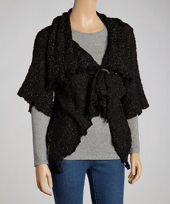 Black Silk-Wool Blend Short-Sleeve Cardigan - Women