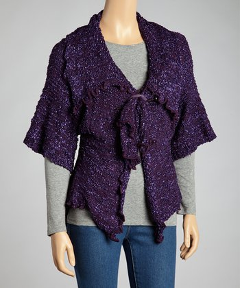 Purple Silk-Wool Blend Short-Sleeve Cardigan - Women