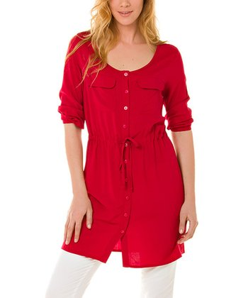 Red Button-Up Tunic - Women & Plus