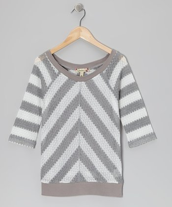 Gray & White Chevron Top