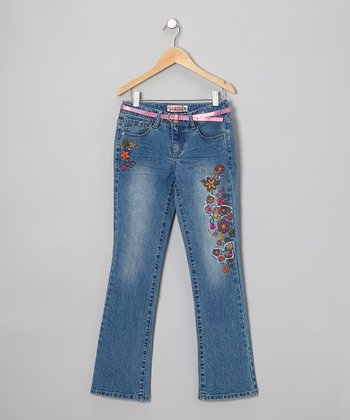Medium Stone Wash Fray Butterfly Bootcut Jeans - Girls