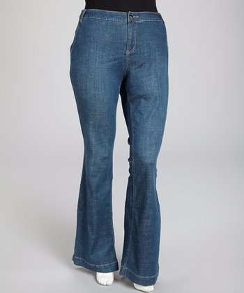 Medium Blue Tribeca Signature Flare Jeans - Plus