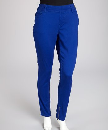 Cobalt Thompson Zip-Leg Skinny Jeans - Plus