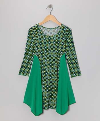 Green Kaleidoscope Panel Dress - Girls