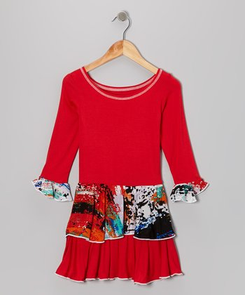 Red Splatter Ruffle Dress - Girls