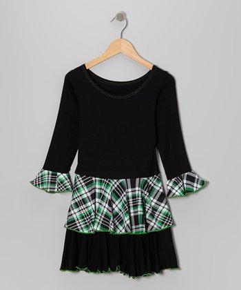 Green Plaid Ruffle Dress - Girls