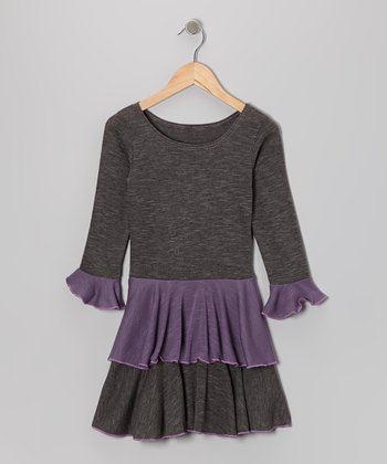 Gray Color Block Ruffle Dress - Girls