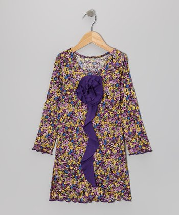 Purple Garden Flower Ruffle Dress - Toddler & Girls