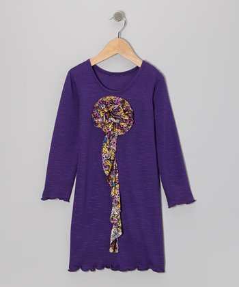 Purple Flower Ruffle Dress - Toddler & Girls