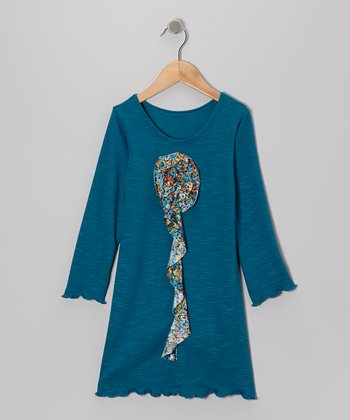 Teal Flower Ruffle Dress - Toddler & Girls