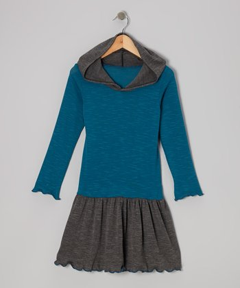 Teal Color Block Hooded Dress - Toddler & Girls
