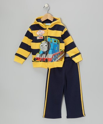 Yellow & Navy Stripe 'Thomas' Hoodie & Pants - Toddler