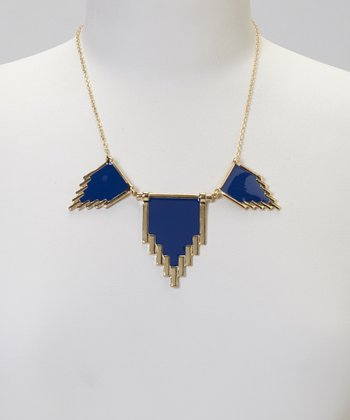 Gold & Montana Blue Tribal Bib Necklace