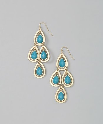 Turquoise & Matte Gold Drop Earrings