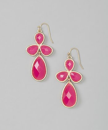 Fuchsia & Gold Drop Earrings
