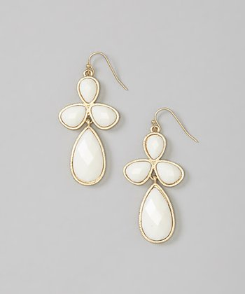 White & Gold Drop Earrings