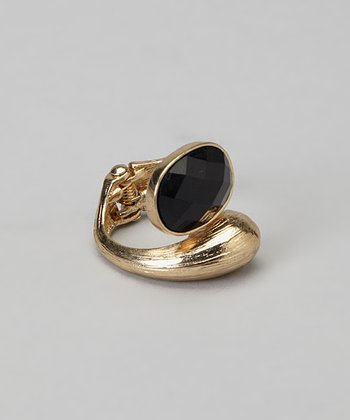 Gold & Black Oval Stone Hinge Ring