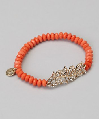 Gold & Coral Stretch Crystal Bracelet