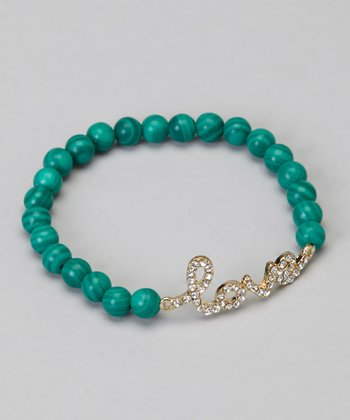 Gold & Emerald Stretch Crystal Bracelet