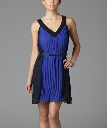 Blue Color Block Belted V-Neck Dress