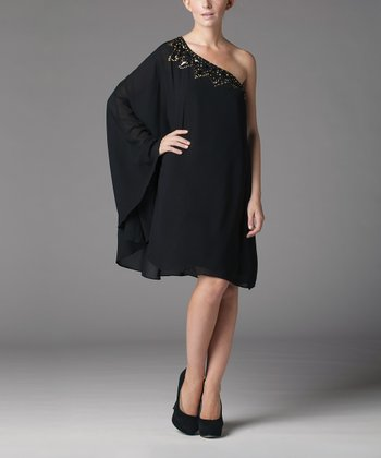 Black Chiffon Embellished Asymmetrical Dress