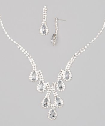 Silver & Clear Rhinestone Teardrop Necklace & Earrings