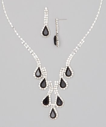 Silver & Black Rhinestone Teardrop Necklace & Earrings