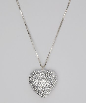 Silver Puffed Heart Pendant Necklace