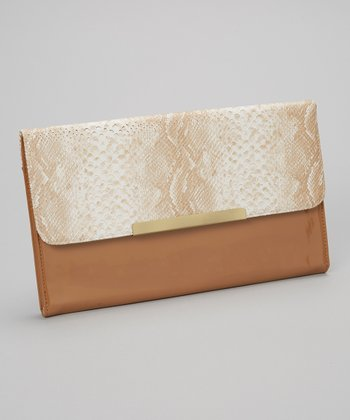 Natural Snakeskin Combo Clutch