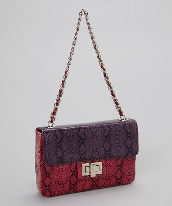 Purple & Fuchsia Snakeskin Combo Crossbody Bag