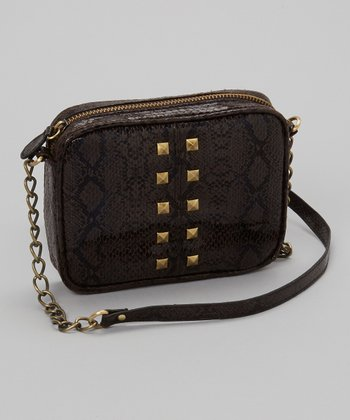 Dark Brown Snakeskin Studded Crossbody Bag
