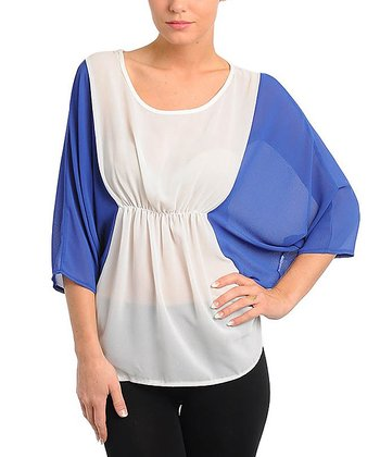 Ivory & Royal Blue Color Block Dolman Top