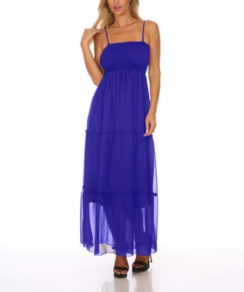 Royal Blue Chiffon Maxi Dress