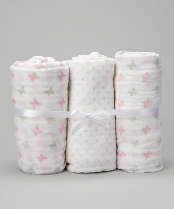 Pink Butterfly Muslin Receiving Blanket Boxed Set