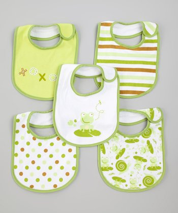 Lime Froggy Bib Set