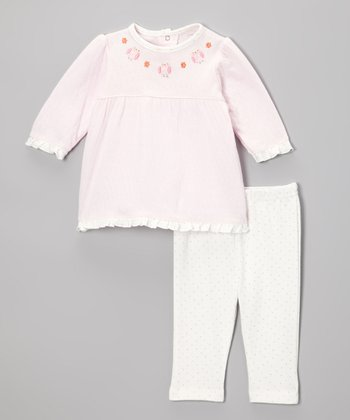 Pink Owl Flower Tunic & Polka Dot Leggings