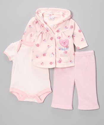 Light Pink 'Sweetheart' Fleece Hooded Cardigan Set