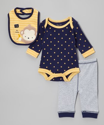 Blue 'I'm So Cute' Monkey Bodysuit Set