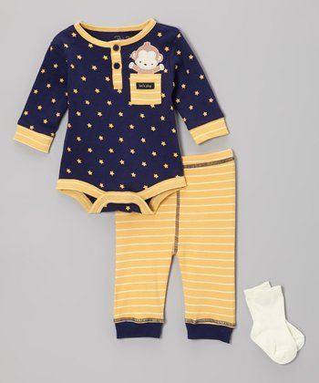 Blue 'Let's Play' Monkey Bodysuit Set