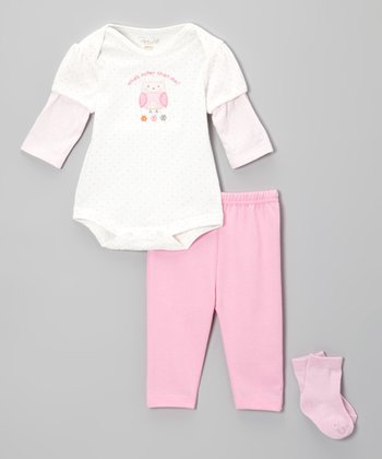 Pink 'What's Cuter Than Me?' Owl Bodysuit Set