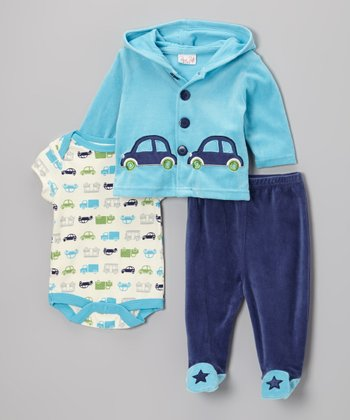Blue & Navy Car Velour Hooded Cardigan Set